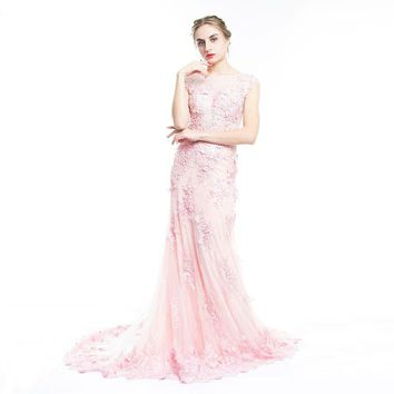 Pink Lace Sweet Prom Dress Luxury Beaded 3D Applique Evening Dress Elegant Mermaid Party Gown