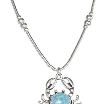 "Sterling Silver 16"" Liquid Silver Synthetic Blue Opal Crab Necklace"