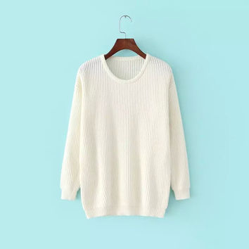 Winter Round-neck Pullover Long Sleeve Sweater Knit Bottoming Shirt [6332300868]