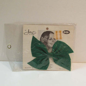 Vintage Green Hair Bow Clip Still in Package MINT Beauty Guild Santa Monica Newberrys