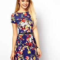 ASOS Skater Dress In Large Floral Print at asos.com