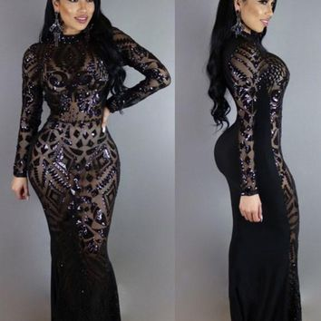 Black Geometric Sequin Cut Out Floor Length Prom Evening Party Maxi Dress