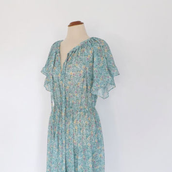 SIZE LARGE Vintage 1960s Prairie Nouveau Blue Floral Peasant Dress Maxi Renaissance Dress Edwardian 70s Prom Gown Boho Hippie Prairie Dress
