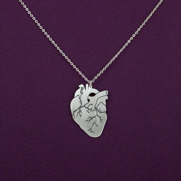 Anatomical heart necklace- silver anatomy heart pendant