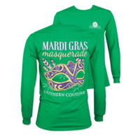 Southern Couture Preppy Mardi Gras Mask Long Sleeve T-Shirt