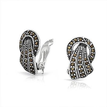 Marcasite Fan Circle Black Clip On Earrings 925 Sterling Silver