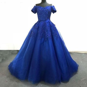 Luxury Royal Blue Tulle Beading Evening Dresses Off Shoulder Sweetheart Party Dress Prom Gown