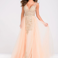 JVN by Jovani Beaded Tulle Overlay Dress- Blush/Nude