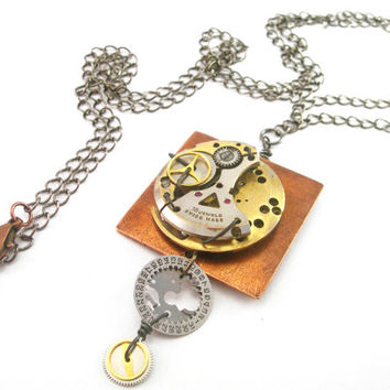Steampunk Necklace, Vintage Watch Necklace, Mixed Metal Necklace, Steampunk Watch, Steampunk Jewelry