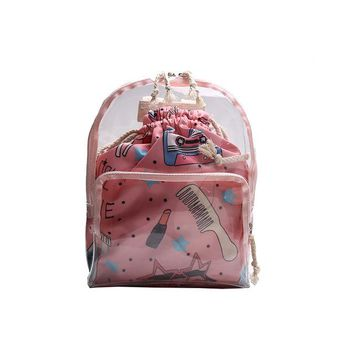Kawaii Transparent Heart Window Lolita Student School Bag Backpack Candy Color Lovely Ita Bag Sweet Cute Girls Gift