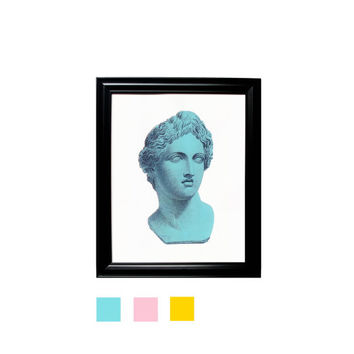 Apollo Bust Sculpture Print Blue Pink Yellow Wall Hanging