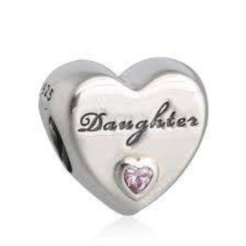 Authentic Pandora Daughter's Love, Pink CZ Charm Bead