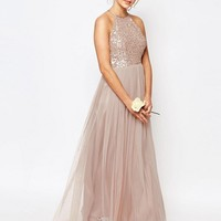 Maya High Neck Maxi Tulle Dress With Tonal Delicate Sequins at asos.com
