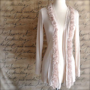 Long jacket with chiffon cream blossom trim by TutusChic on Etsy