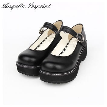 Pretty Simple Design Thick Platform Lolita Wedge Shoes PU Leather White Mary Jane Shoes for Girls