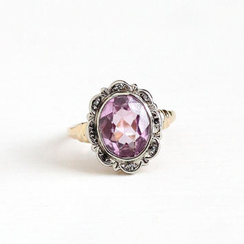 Vintage 10k Yellow & White Gold Art Deco Created Pink Sapphire Diamond Halo Ring - Size 3 3/4 1930s Flower Two Tone Rose Fine Esemco Jewelry