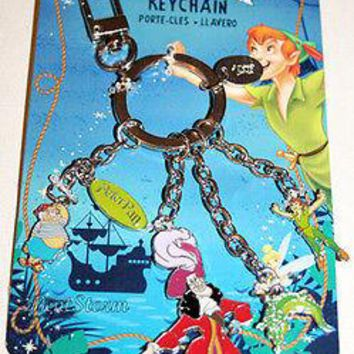 Licensed cool NEW Disney Store PETER PAN Charm Metal Keychain Key Chain Hook Tick Tock Mr Smee