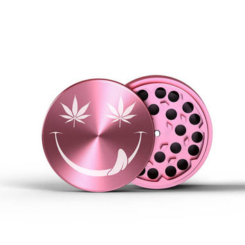 Herb Grinder Pink SMILEY Customized Grinder Laser Engraved 4 Pieces birthday Friends Gift