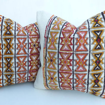 Pair of Decorative Kilim Pillow covers with Embroideries