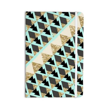 """KESS InHouse Nika Martinez """"Glitter Triangles in Gold & Teal"""" Everything Notebook, Blue Brown (MM1047ANP01)"""
