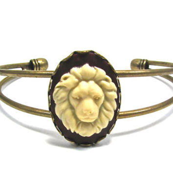 Lion Cuff Bracelet - Antique Gold Lion Cameo Jewelry - Leo the Lion - Astrology Sign - Lion Head Cuff - Heraldry - Heraldic Jewelry