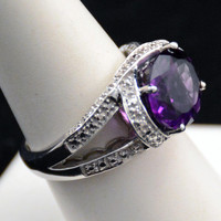 Amethyst Cocktail Ring, Sterling Ring, Cocktail Ring, Birthstone Ring, Bling Ring           J918