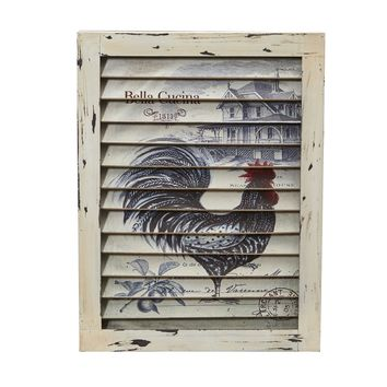 17 Inch Rooster Window Shutter Vintage Wall Decor