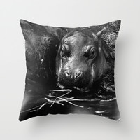 baby hippo with his mother Throw Pillow by Marianna Tankelevich