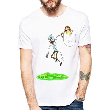 Rick And Morty Funny Pocket Hip Hop Style T-Shirt
