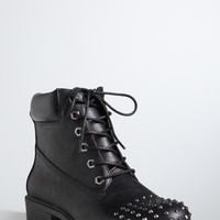 Studded Toe Combat Boots (Wide Width)