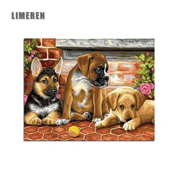 Unframed Dogs DIY Painting By Numbers Modern Wall Art Picture Handpainted Oil Painting Unique Gift Home Decor
