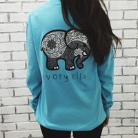 Light Blue Elephant and Letter Print Long Sleeve T-Shirt
