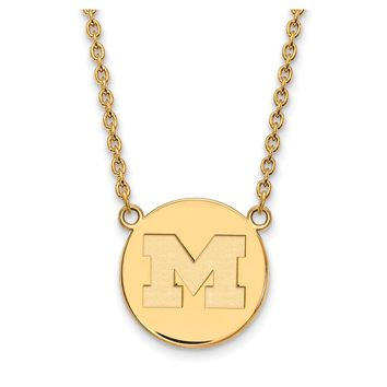 NCAA 14k Gold Plated Silver U of Michigan Large Disc Necklace