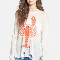 Wildfox 'Lobster Lenon' Destroyed Sweater | Nordstrom