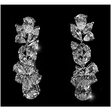 Jacquine Cluster Linear Chandelier Earrings | 8ct | Cubic Zirconia | Silver