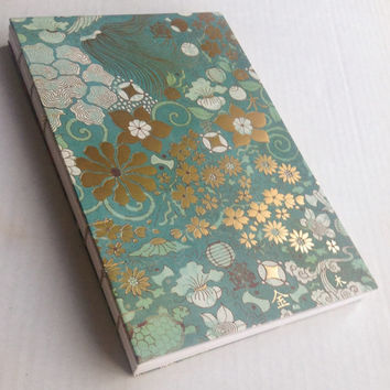 Asian inspired gold turquoise lanterns flowers coptic stitched sketchbook eastern 88 blank medium weight pages 6X9