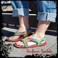 Crochet Sandals *Made To Order* Sunflower Sandals, teen, women, outdoor, water resistant soles, slippers, shoes, for her, hippie boho trendy