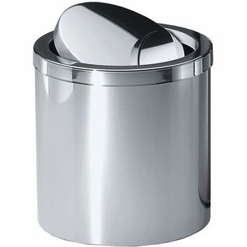 DW 125 / DW 124 Round Stainless Steel Trash Can Wastebasket/ Swing Lid. Chrome