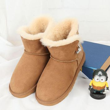 Free delivery 2017 high quality 100% Australian sheep fur one snow boots fashion casual warm women boots special