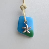 Mixed Aqua and Green Green Sea Glass Starfish Necklace by WaveofLife