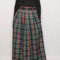 Navy plaid skirt Women maxi skirt High waisted maxi skirt with pockets Wool skirt