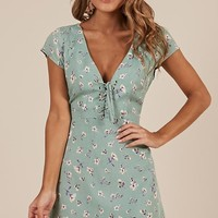 Secret Cure dress in mint floral Produced By SHOWPO