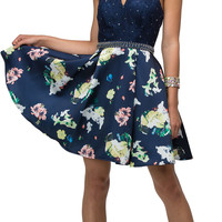 Halter Beaded Lace Top Flower Print Skirt Short Prom Dress Navy Blue