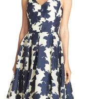 Maggy London Floral Jacquard Fit & Flare Dress | Nordstrom