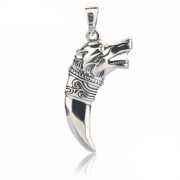 Wolf Spike Pendant Necklace Fine Jewelry 925 Thai Sterling Silver Wolf Pendant