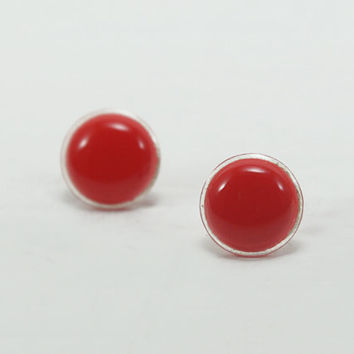 Red Stud Earrings 14mm - Bright Red Studs - Red Earrings - Dainty Round Red Stud Earrings - Wedding Bridal Bridesmaids Jewelry by Biesge