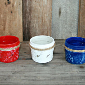 USA Red, White, and Blue painted Mason Jar Votive Holder, Tealight Holder, Vase, Home Decor, Holiday Decor, Holiday Lighting