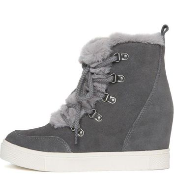 DCCKLP2 Steve Madden for Women: Lift Grey Wedge Boots