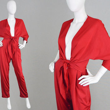 Vintage 70s ARISTOS Slinky Jersey Two Piece Set 1970s Trouser Suit Bright Red Pant Suit High Waisted Dolman Sleeve Top Disco Top Batwing Top