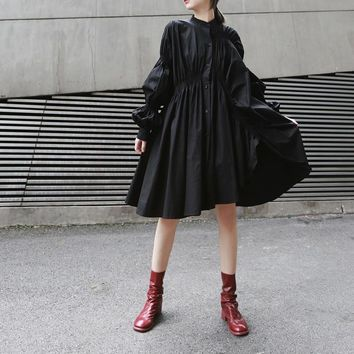 Hotaru Long Sleeve Pleated Shirt Dress - Black